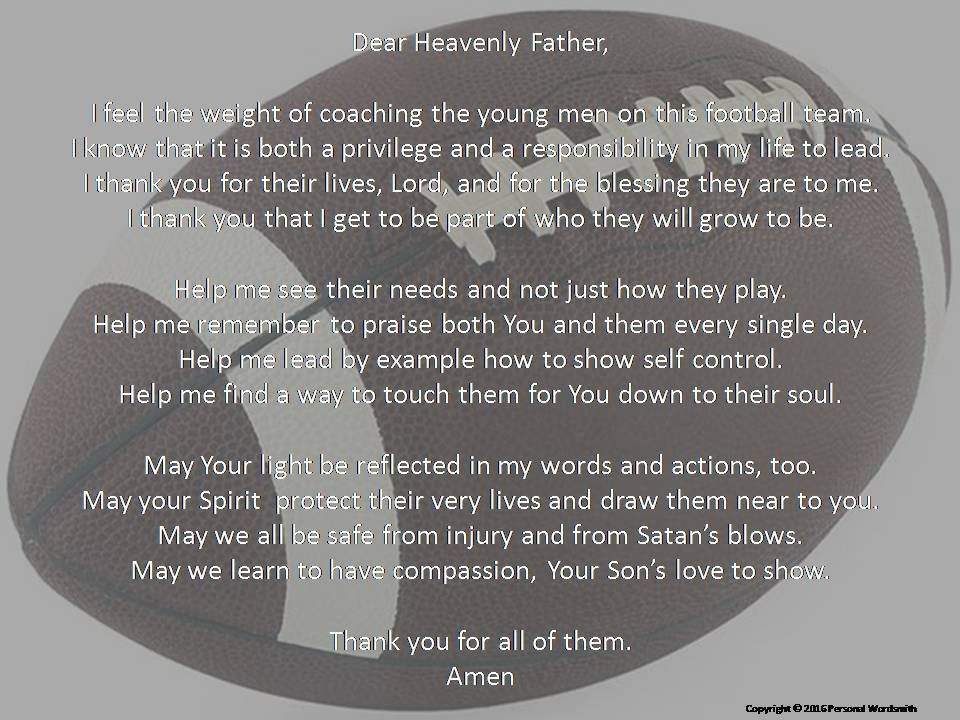 Football Coach's Prayer Digital Print, Downloadable Prayer for ...