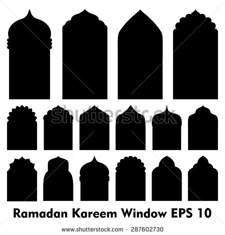Vector islamic door and window shapes arabic door and for Window shapes and designs