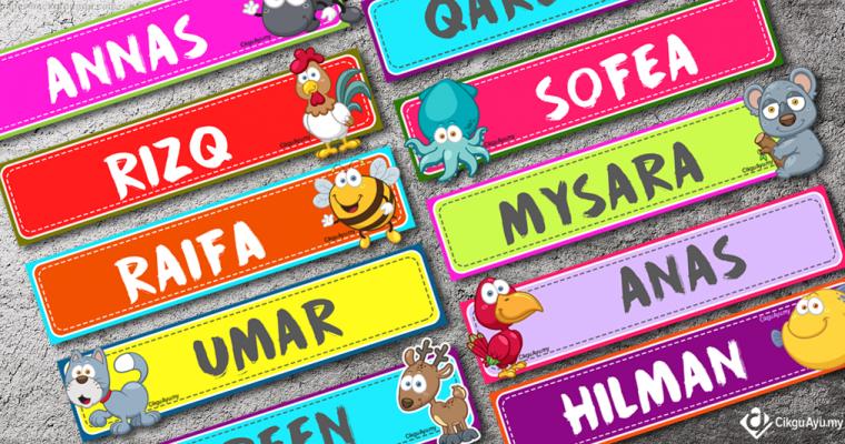 Label Nama Murid Mengikut Kumpulan Dots Floral Banners Labels