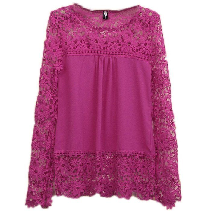 SDolphin Womens Spring Long Sleeve Lace Crochet Loose Chiffon T-shirts Blouse