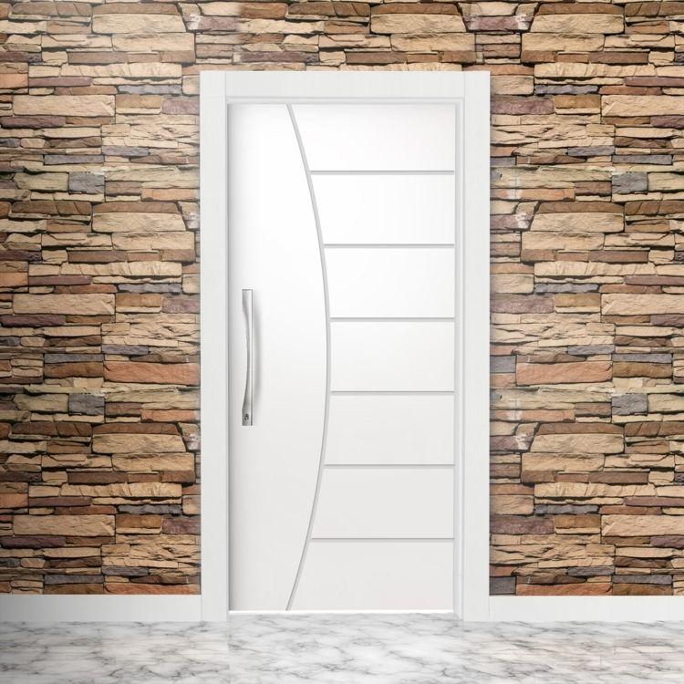 Porta De Madeira Frisada Semi Sólida Famossul 210cmx80cm Branco Portas De Entrada De Madeira Tipos De Portas Porta De Madeira Branca