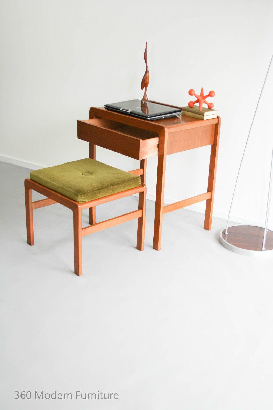 Mid century modern kalmar desk hall table drawer console stool vintage retro scandi in home garden furniture desks home office furniture ebay 360