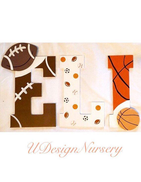 Sports Themed Wooden Wall Letters - Custom Nursery Letters - Sports ...