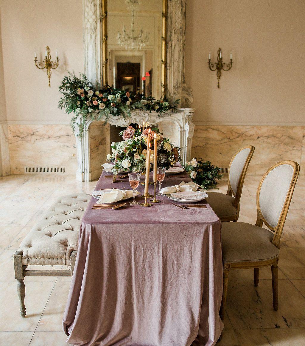 Mauve Velvet Linen Mauve Velvet Lavender Velvet Velvet Linen Light Purple Velvet Velv Table Arrangements Center Table Decor Romantic Wedding Table Settings