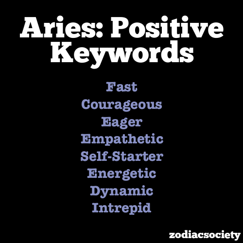Positive keywords of Aries | Zodiac Signs - Aries ...