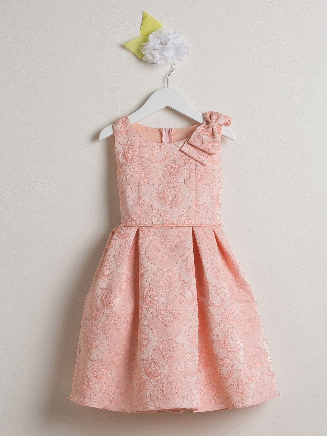 Rose Pink Jacquard Rose Print Flower Girl Dress Available In Sizes