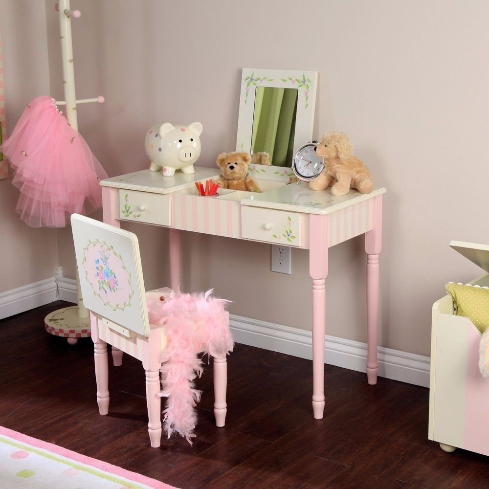 NEW Girls Chic White Pink Flowers Vanity Desk Table Mirror Stool Makeup  Drawers #Unknown #