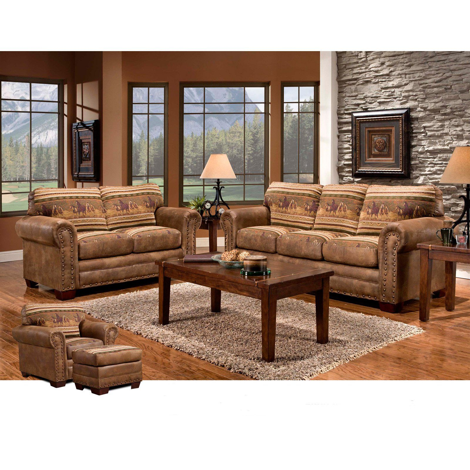 Outdoor Leisure Products Wild Horses 4 Piece Sofa Set 4 Piece Living Room Set Living Room Sets Furniture Living Room Sets