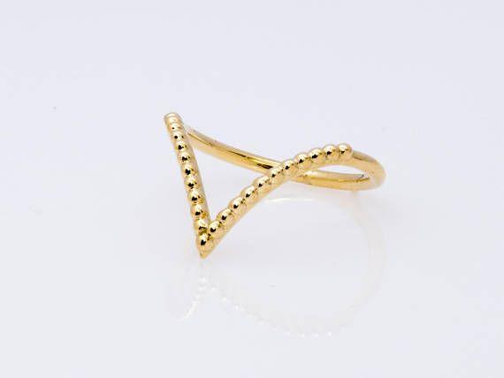 18k Chevron Ring V Shape Gold Ring Solid Gold V Ring