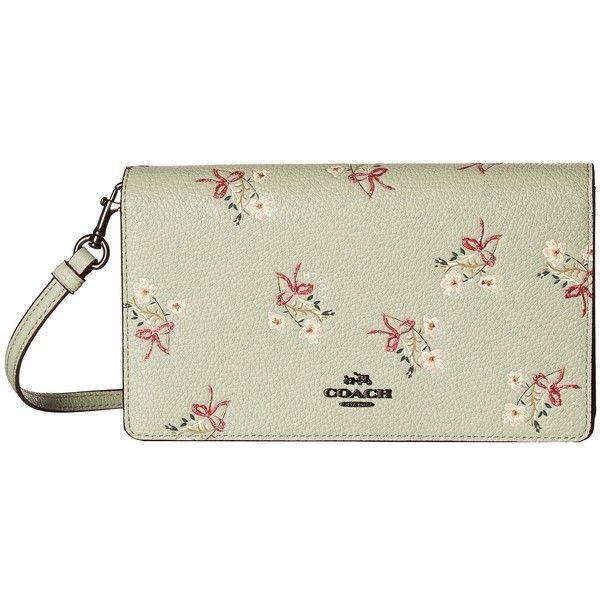 7380189192f COACH Floral Bow Fold-Over Crossbody Clutch (BP/Pale Green) ($195) ❤ liked  on Polyvore featuring bags, handbags, clutches, white crossbody handbag, ...