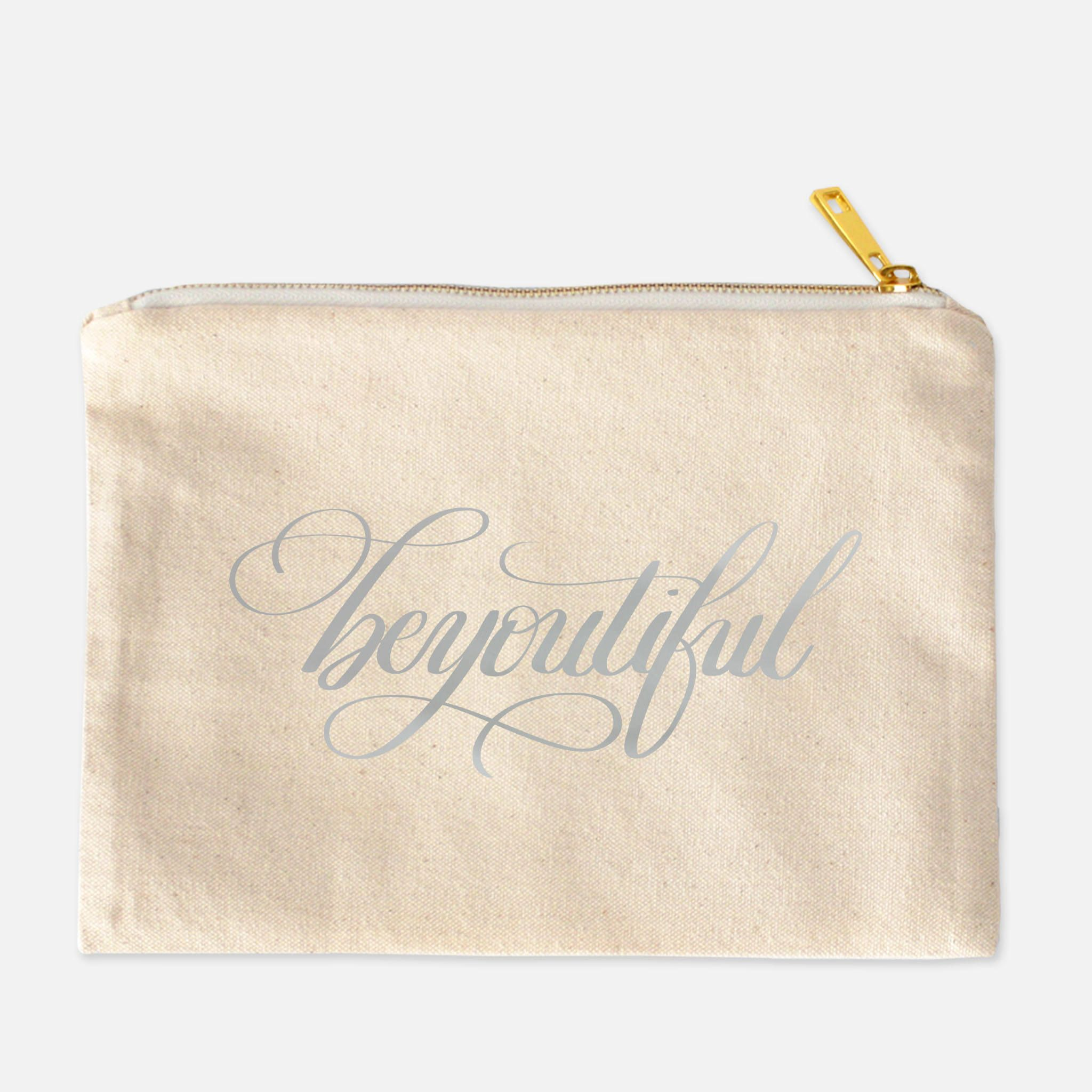 Be You Tiful Canvas Makeup Bag, Bag with Sayings, Gold