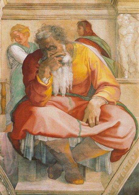 Sixtinische Kapelle, Michelangelo, Prophet Jeremias (Prophet Jeremiah) by HEN-Magonza, via Flickr
