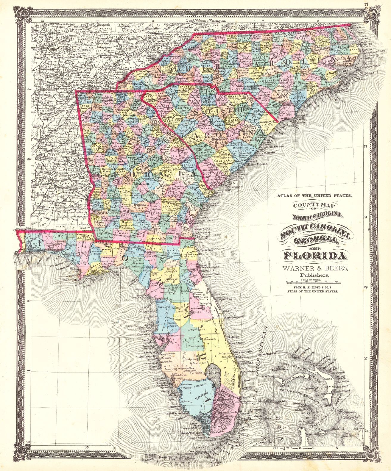 Atlas of the United States County Map of North Carolina South