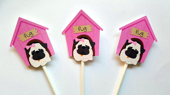 Pug Cupcake Toppers Puppy Party Cupcake Toppers Girl By Craftycue
