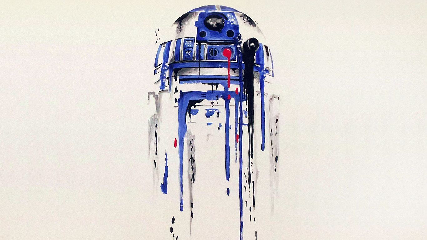 Wallpaper Desktop Laptop Mac Macbook As07 R2 D2 Minimal Painting Starwars Art Illustration