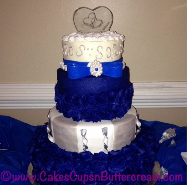 Royal Blue, White And Silver Tiered Wedding Cake. Simple