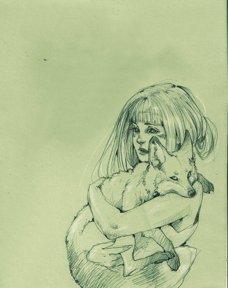 "Girl with fox illustration: ""Stringimi forte amor"" (""Hold me tight love"") by Loputyn on deviantART"
