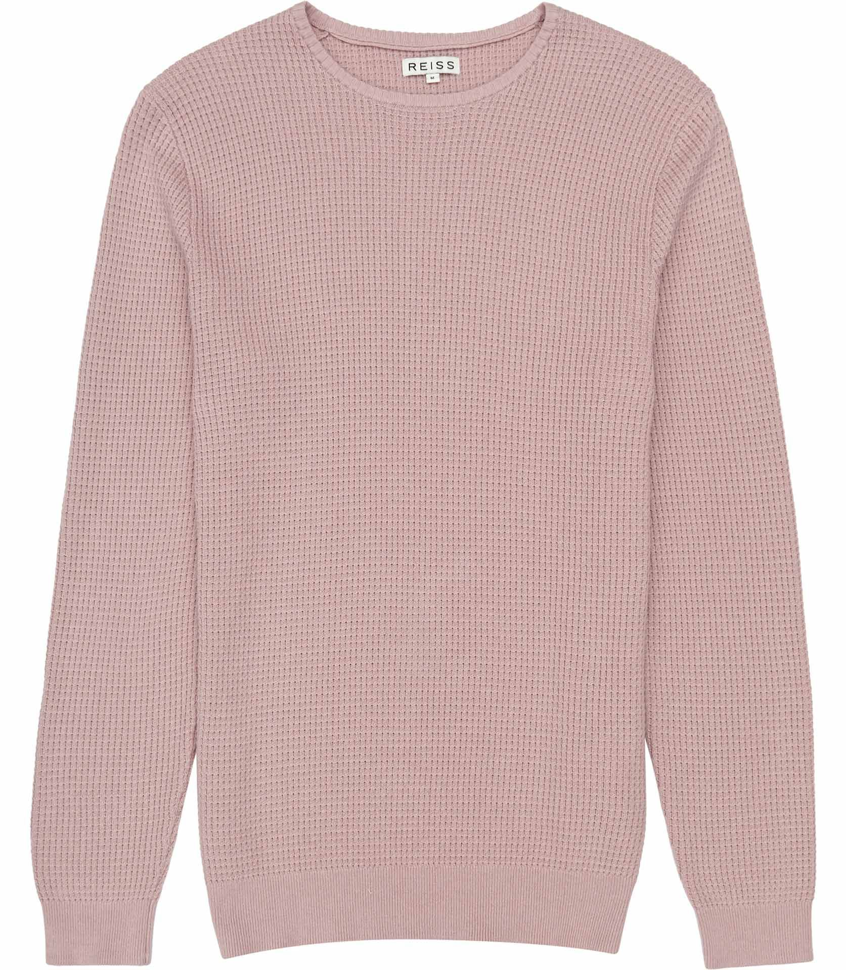 Mens Soft Pink Waffle Knit Jumper - Reiss Edward