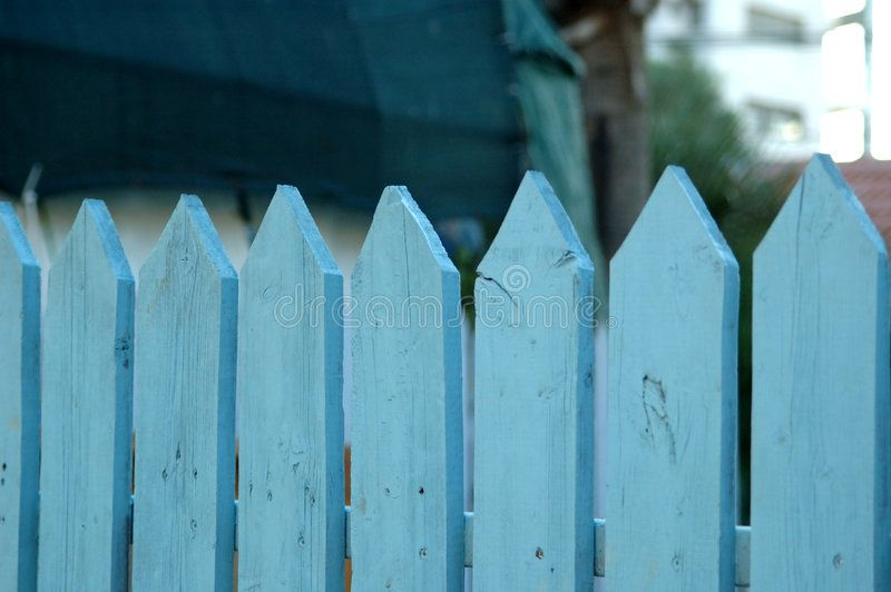Blue picket fence Pale blue picket fence