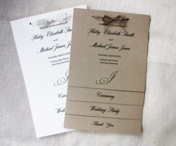 Lace, Twine and Kraft Rustic Shabby Chic Wedding Program Booklet