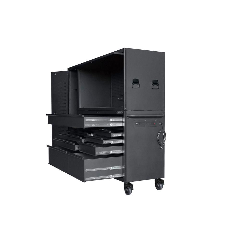 Husky Heavy Duty 80 In W 10 Drawer Deep Combination Tool Chest And Rolling Cabinet Set In Matte Black 3 Piece Hotc8010bb1s With Images Tool Chest