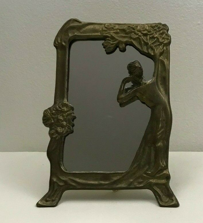 Rare ART NOUVEAU Bronze ANTIQUE PHOTO MIRROR PICTURE FRAME