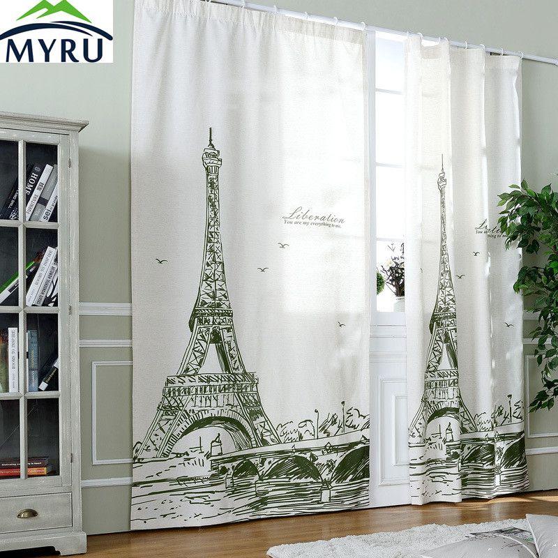 MYRU 1.3m*2.6m  Eiffel Tower blackout curtain cloth curtain bedroom living room curtain free shipping