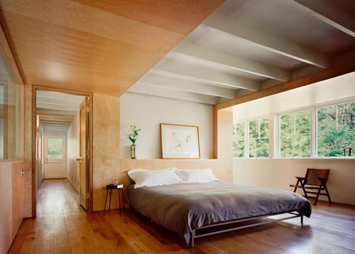 exposed beam and plywood ceiling. pod of space effect - get the