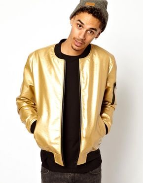 ASOS Bomber Jacket In Faux Leather