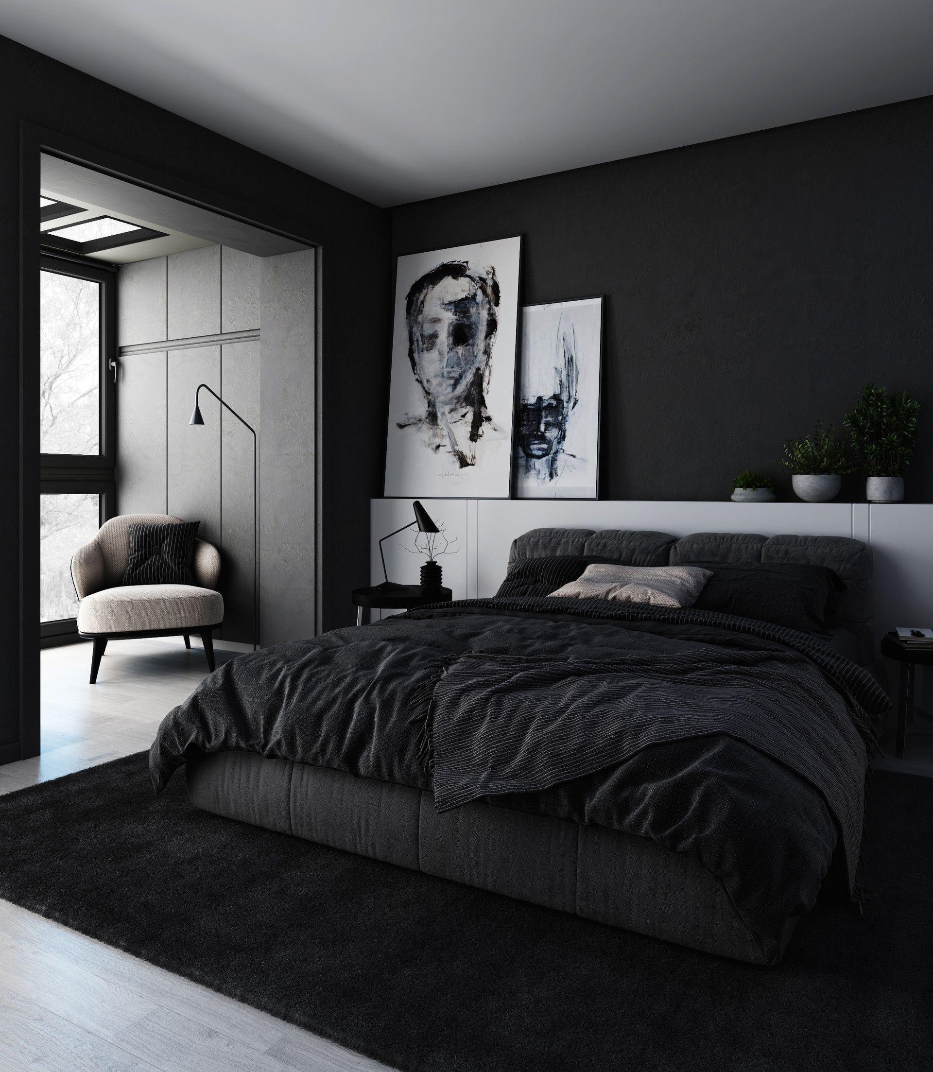 bedroom toned completely in black tonesbrahim halawani