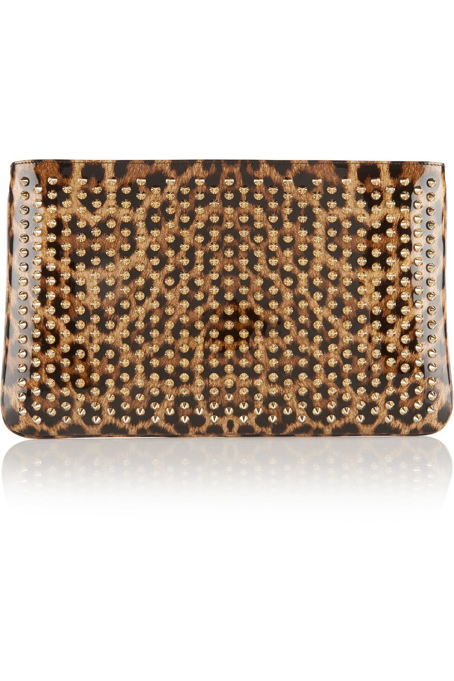 c447e225dea Christian Louboutin - Loubiposh spiked leopard-print patent-leather ...