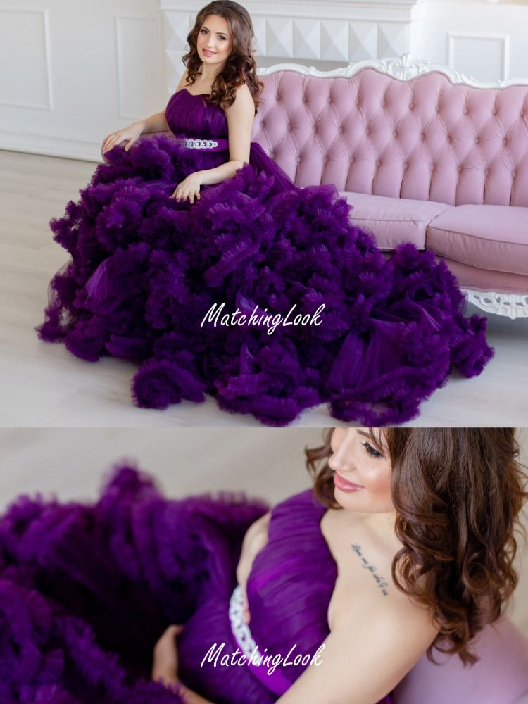 Photo of Maternity gown, purple cloud design maternity ruffled tulle dress for photo shoot, pregnancy gown