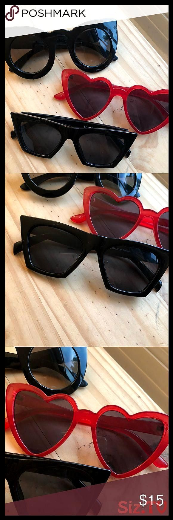 Trendy Sunglasses Bundle Really awesome and trendy sunglasses All for one price All in fantastic condition Tons of life leftThe heart sunglassesTrendy Sunglasses Bundle R...