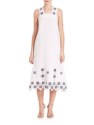 Suno Embroidered Cross Back Midi Dress White Size 8
