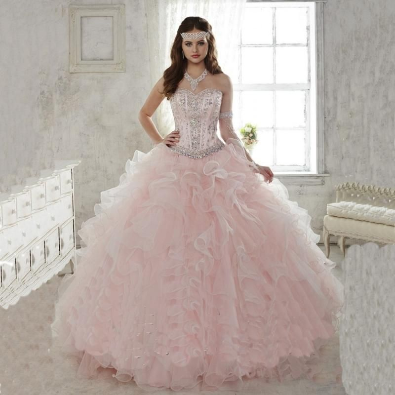2015 Light Pink Quinceanera Dresses Ball Gowns Sweetheart With ...