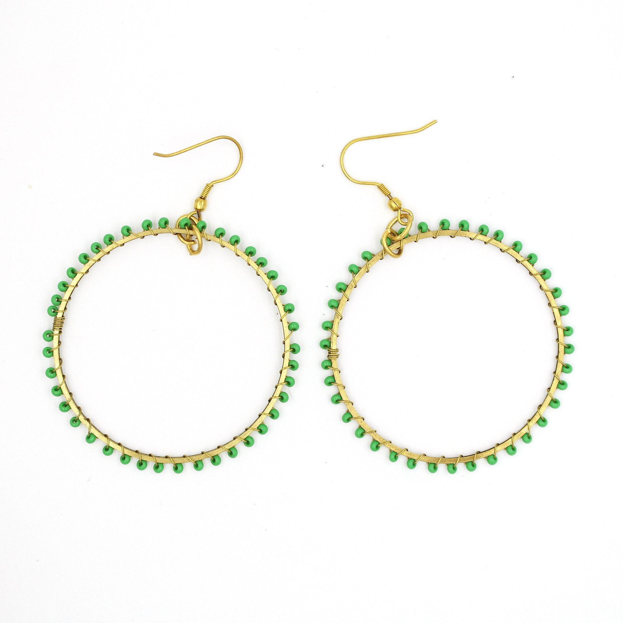 Green Large Hoop Earrings