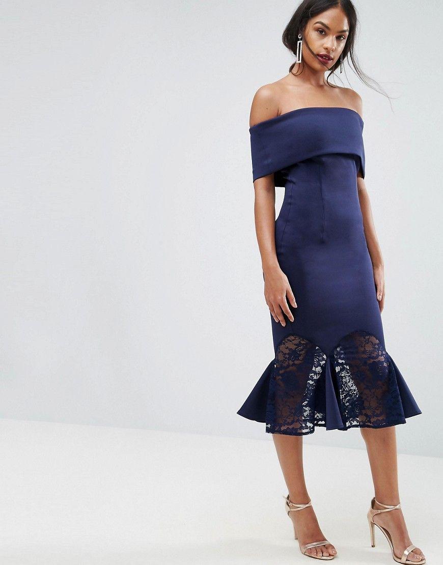 9909827145486 ASOS Scuba Bardot Lace Insert Circle Pephem Dress - Navy | Products ...