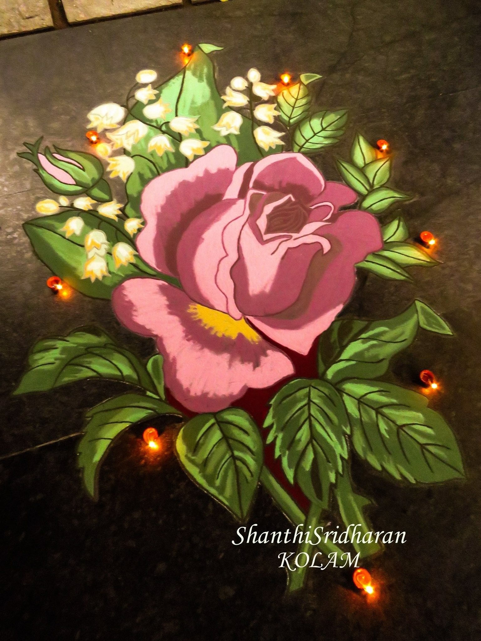 Kolam Rose Rangoli Bouquet Green Flower Art Rangoli Designs Rangoli Designs Diwali