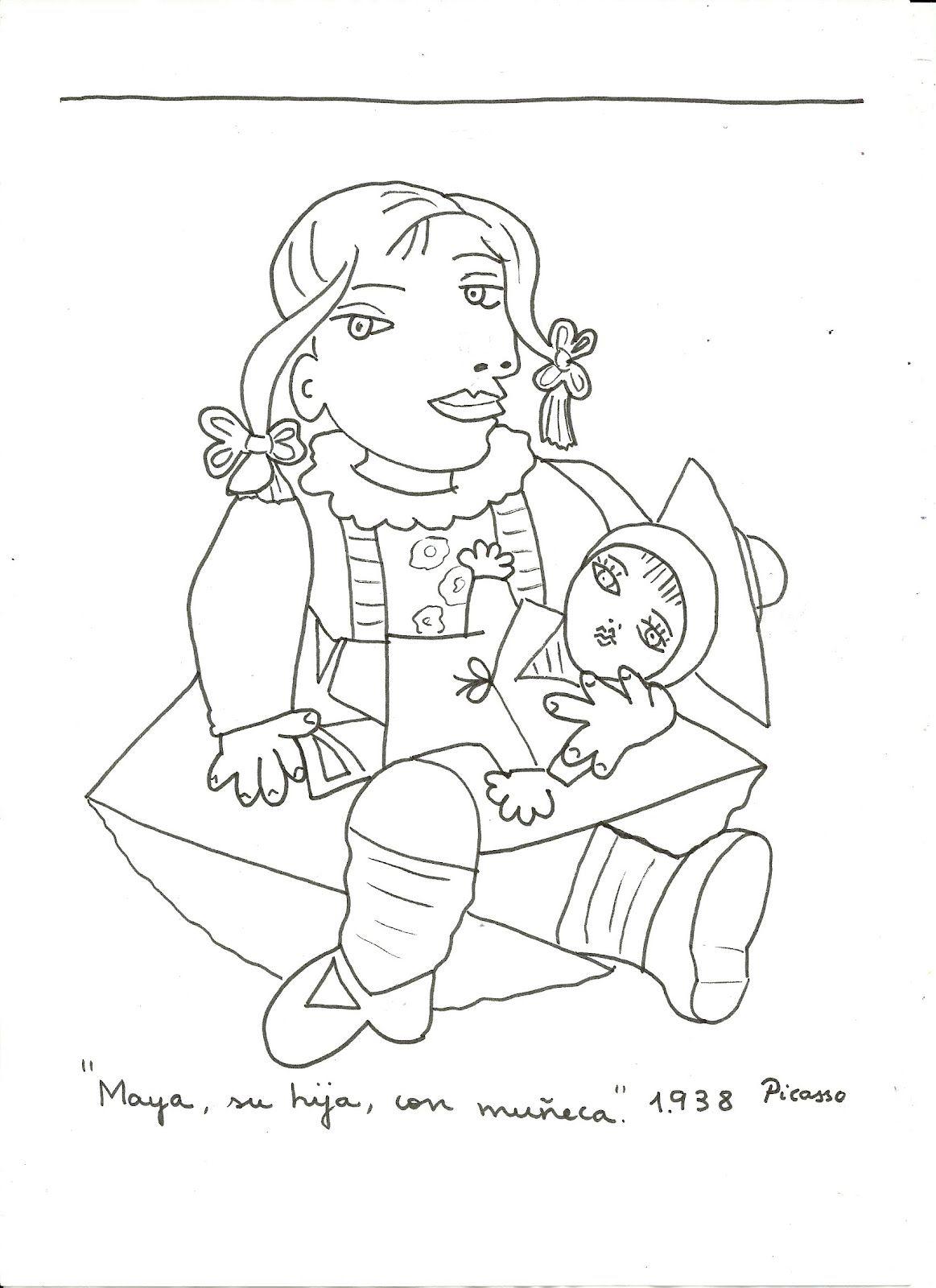 Picasso - Maya con su muñeca   Dessin picasso, Coloriage ...