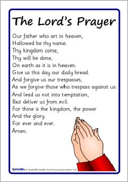 photograph regarding Printable Lords Prayer named Printable The Lords prayer Room Prayer crafts, University