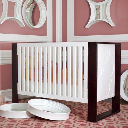 Awesome Modern Crib Love The Brown White Pink Combo Too Modern Baby Furniture Modern Baby Cribs Modern Crib