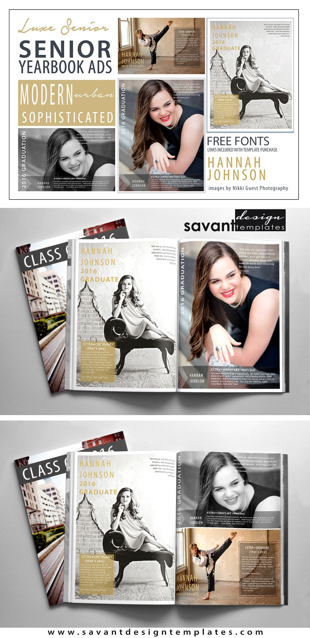 Modern, sophisticated Yearbook Ad Templates http://www.etsy.com ...