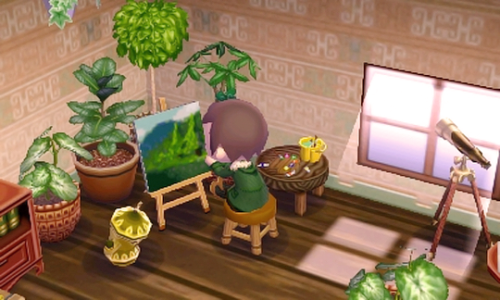 Adorable Painting Room In New Leaf Leaf Animals Animal Crossing