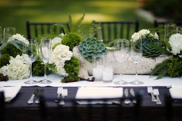 "What a beautiful, ""woodsy"" centerpiece design by Isabella Sikaffy of Florabella Studios - featured on Ruffled Blog."