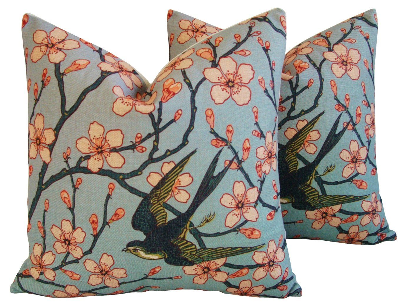 Magnolia Blossoms/Sparrow Pillows, Pair - Mike Seratt - Top Vintage Dealers - Vintage  One Kings Lane #Pillows#Pair#Mike