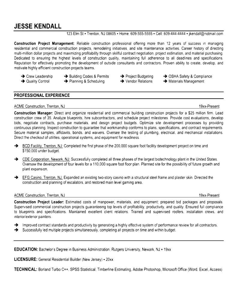 Construction Supervisor Sample Resume Management Specialist