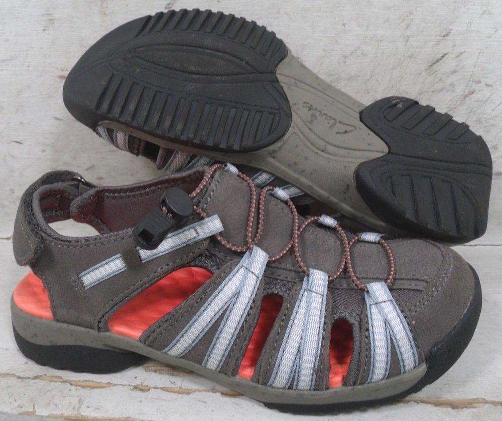 3ef1832fa62 Clarks Womens Tuvia Maddee Gray Suede Leather Sport Sandals Shoe 25390 sz  5.5 M  fashion
