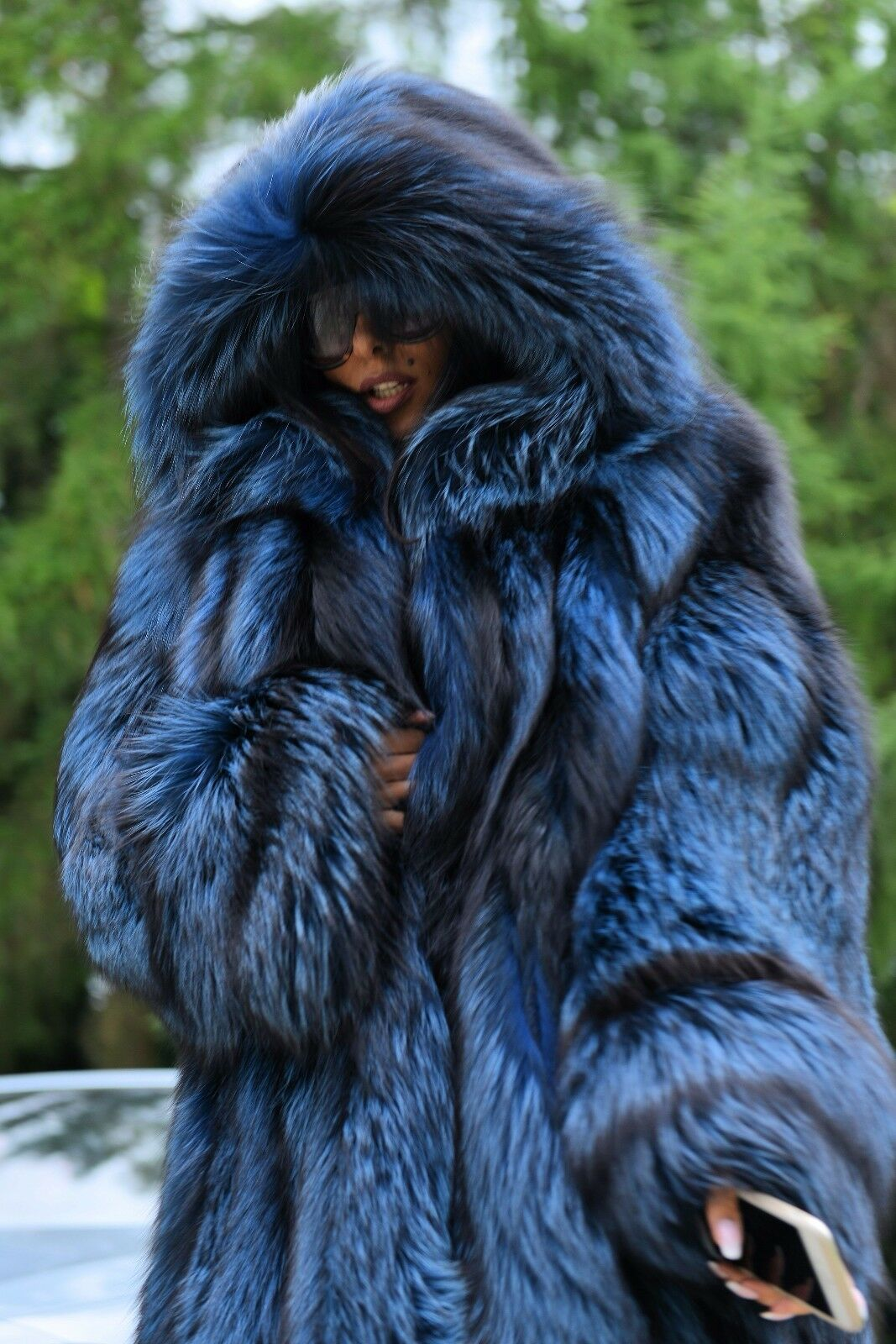 Royal Silver Fox Long Fur Coat Hood Class Of Chinchilla Sable Mink Jacket Trench Long Fur Coat Fur Fox Fur