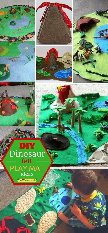 How I Made A Felt Dinosaur Play Mat For My Son Felt Play Mat Sewing Projects For Kids Dinosaur Play