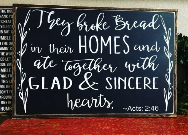 They Broke Bread In Their Homes, Farmhouse Style Kitch Sign, Acts Kitchen  Decor, Large Kitchen Sign, Ate Together Sign